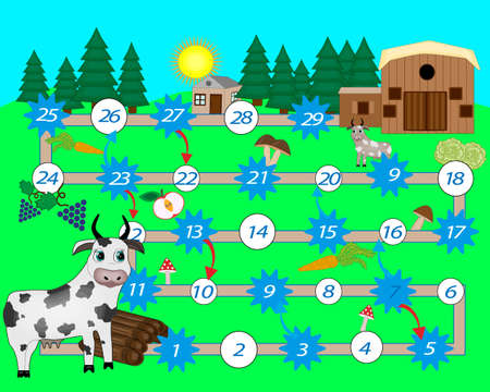 Help the pig to cow to her house. Board game for children