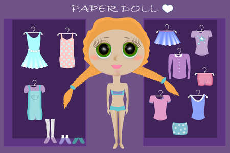 Dress up paper doll with body template. Big head doll. Vector