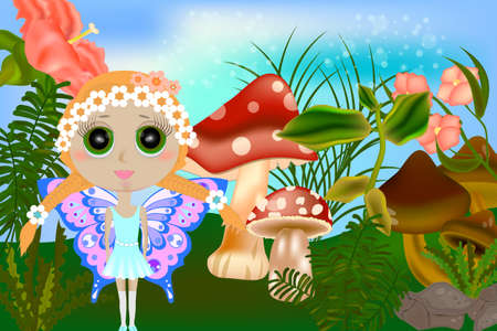 Bright fantasy illustration a small fairy and mushrooms. Fantasy landscape with mushrooms and flowers Zdjęcie Seryjne - 153047659
