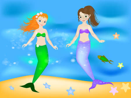 Two young beautiful mermaids swim in the sea. Cute fairy tale characters.