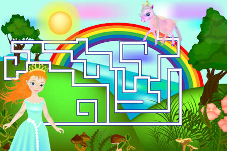 Colorful game for children. Maze with pony and princess. Board game
