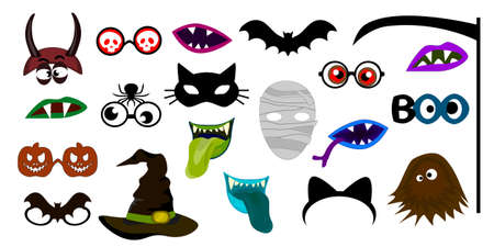 Halloween Photo Booth Props. Fun Party Mask or Photography Supplies. Photo Props. Иллюстрация