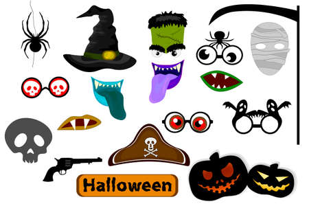Photo Booth Props and Scrapbooking Vector Set for Halloween party. Halloween colorful element set for holiday design.