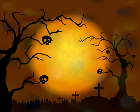 Halloween banners with moon and graveyard. Halloween Zombie Party Poster Zdjęcie Seryjne - 154368640