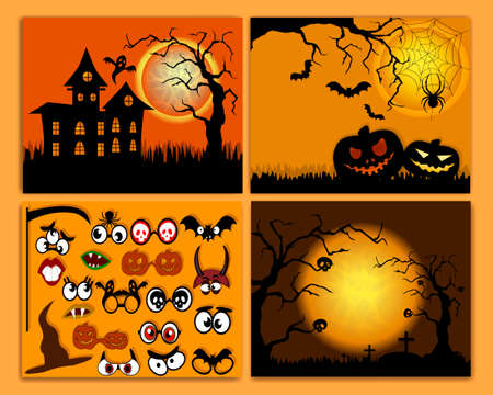 Set of flyers for halloween vector illustration. Templates of posters with terrible evening. Halloween party greeting cards. Banners set. Design elements for zombie party. Иллюстрация
