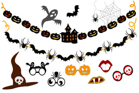Halloween Garlands and elements for party props. Photo booth. Bunting set Иллюстрация