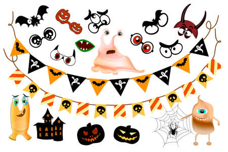 Set of Halloween garlands for decoration. Party photo booth props. Zdjęcie Seryjne - 154368649