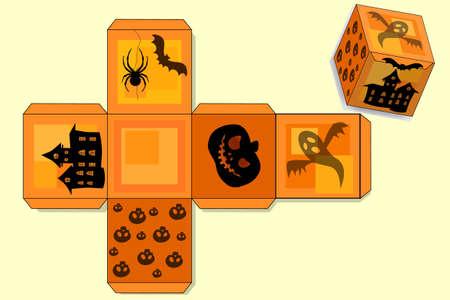 Halloween trick or treat box template. Vector Иллюстрация