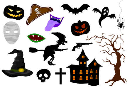 Set of Halloween Party Design Elements and Icons on White Background. Photo booth props Иллюстрация