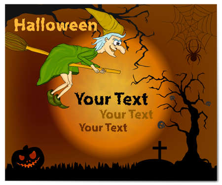 Flyer for halloween party with funny witch. Vector illustration with witch and moon