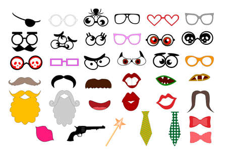 Photo booth props template for party. Elements for party props. mustaches, lips, eyeglasses, beard, tie silhouettes and design elements for party props isolated on white background Иллюстрация