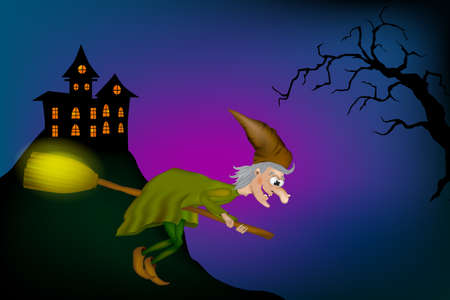 Vector illustration of halloween witch flying on broom. Cartoon Funny Witch Zdjęcie Seryjne - 154744646
