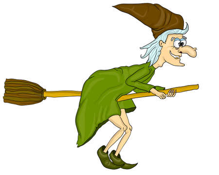 Vector illustration of halloween witch flying on broom. Cartoon Funny Witch Zdjęcie Seryjne - 154744645
