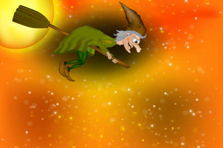 Vector illustration of halloween witch flying on broom. Cartoon Funny Witch Zdjęcie Seryjne - 154744648