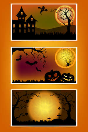 Set Of Halloween greeting cards or flyers. Can be use for cover design poster, flyer, card. Place for your text message. Zdjęcie Seryjne - 154744649