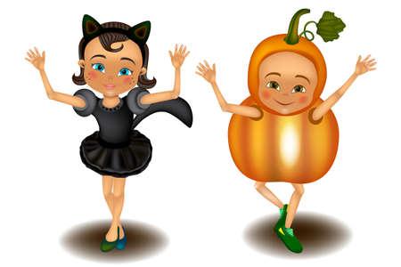 Children dressed in Halloween fancy dress. Kids wearing monsters costumes. Vector Illustration Иллюстрация