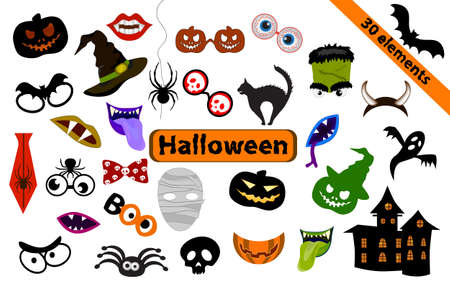 Halloween-set of 30 Design elements for party props. Photo Booth Props. Monster party printable and Masks Decorations Zdjęcie Seryjne - 154744654
