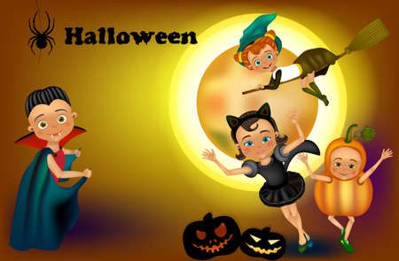 Happy Halloween party with children. Halloween kids costumes witch, Dracula, cat costume, Pumpkin. Zdjęcie Seryjne - 154744653