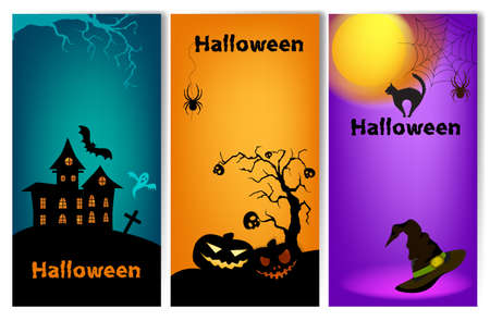 Set of three vertical Halloween banners. Halloween banner template. Place for your text.