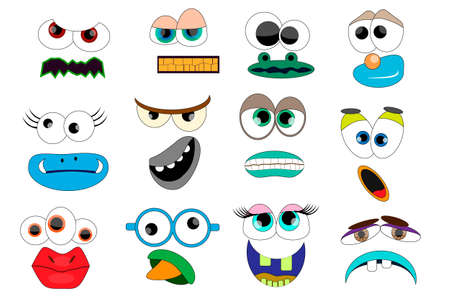 Party for Children - Funny Monsters. Mask, Photo Booth Props. Monster Mouths and Eyes Set. Zdjęcie Seryjne - 154744655