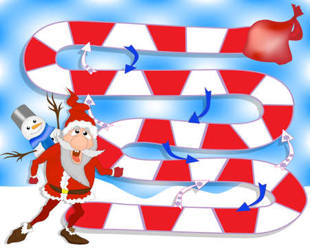 Christmas board game with cartoon Santa Claus and gifts. Game for family Zdjęcie Seryjne - 154744661