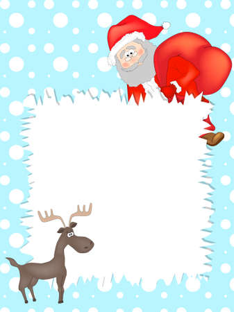 New year background with place for your text. Magic Santa s List with Santa and deer. Zdjęcie Seryjne - 154744659