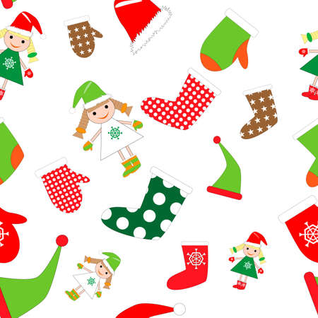 Christmas seamless pattern with elf girl, mitten, cap and sock. New year background Иллюстрация
