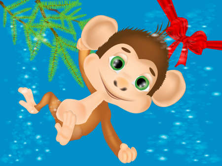 Cute monkey with blue background for your design. New Year Christmas Greeting Card Иллюстрация