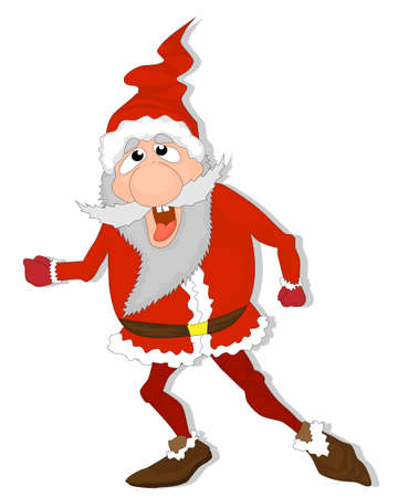 Crazy Santa Claus Cartoon Character. Vector Illustration Zdjęcie Seryjne - 154744663