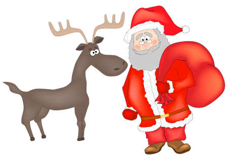 Funny character of Santa Claus and reindeer. Vector illustration isolated on white background Zdjęcie Seryjne - 154744664