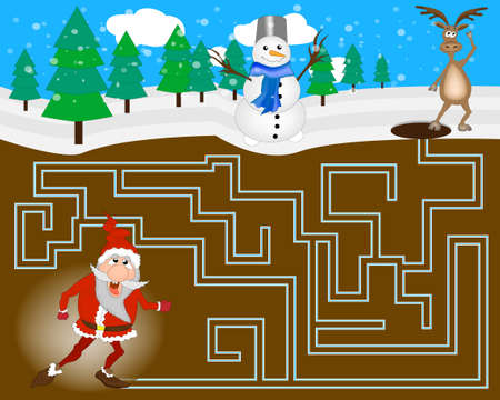 Colorful christmas game. Maze for children with Santa Ilustracja