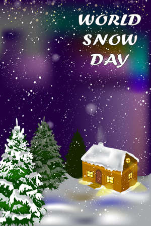 World snow day card. Vector winter holiday background with house