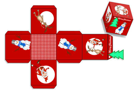 Bright Christmas packaging. Template of New Year box for gifts
