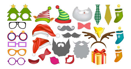 Photo Booth Props and Scrapbooking Vector Set for New Year party. Christmas colorful element set for holiday design.