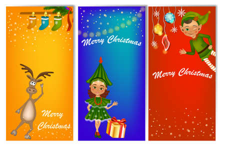 Set of three vertical New Year banners with cute kids in costume fir tree, elf and deer. New Year banner template with place for your text.