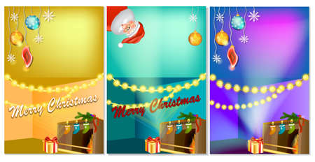 Set of three vertical New Year banners with Christmas cartoon home interior with hot fireplace. Christmas banner template with place for your text. Christmas Photo zone.