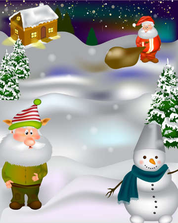 Christmas Photo zone. Christmas poster design with Santa Claus, elf and snowman.