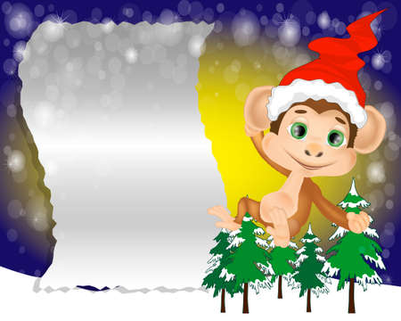 Christmas Greeting Card with the monkey. Letter to Santa Claus. Merry christmas lettering Ilustracja