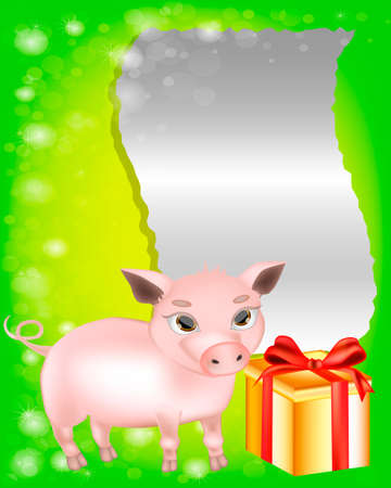 Greeting Card with the cute pig and gift. Heet of paper for your text congratulations