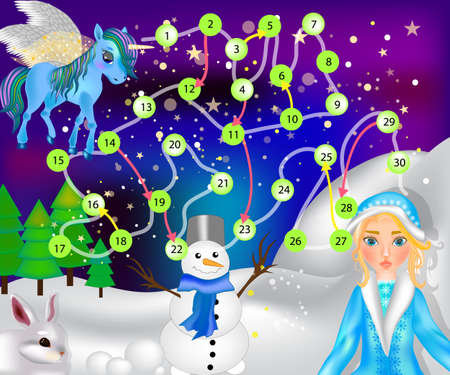 A board game for children is a winter fairytale. Snow Maiden, Pegasus, snowman and hare