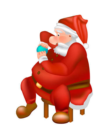 Vector Cartoon Santa Claus sits in a chair. Detailed illustration of Santa isolated on white background Zdjęcie Seryjne - 155904440