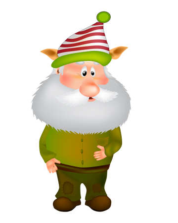 An old man in an elf costume vector illustration. Cute Cartoon Gnome. Isolated on a white background.