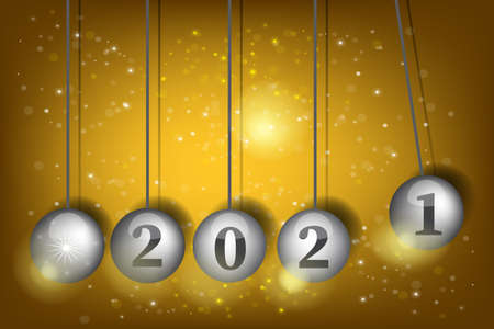 3D Vector Pendulum Newton's Cradle. New Year's Eve 2021. Pendulum balls. Realistic vector illustration