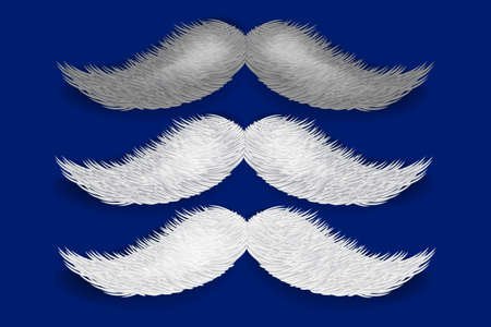 Realistic vector Santa's mustaches isolated on blue background. Fake mustaches. Vector. Ilustracja