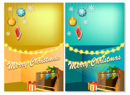Vertical New Year banners with Christmas cartoon home interior with hot fireplace. Detailed vector card for your greeting text Ilustracja