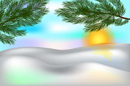 Beautiful winter background Snow and twigs of pine. Poster with place for your text