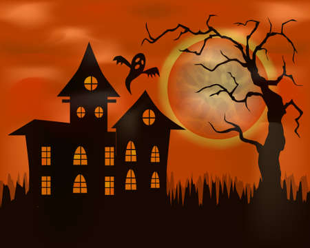 Halloween vector illustration on orange background. Haunted House with Full Moon in the Background. Haunted House Scene. Ilustracja