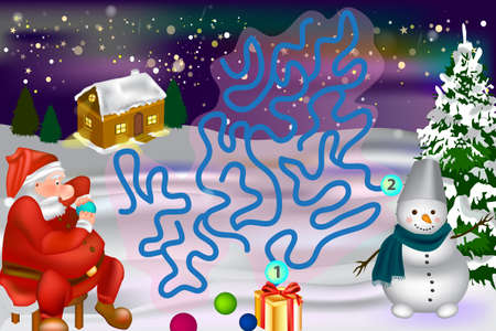 Help Santa find his way through the maze. Christmas Maze for Kids.