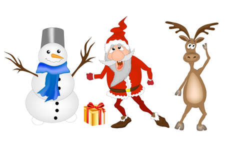 New Year. Vector christmas illustration with Funny Cartoons characters: Santa Claus, deer and snowman.