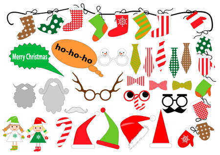 Big set of Christmas Party graphic elements. Christmas photo booth and scrapbooking set. Mustache, beard, glasses, cap, sock, mitten, tie-for design, photo booth in vector.